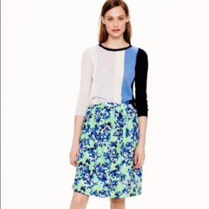 J Crew Green Blue Floral Pleated Skirt Size 0